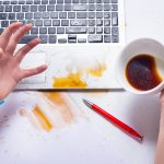 Spilt coffee over keyboard
