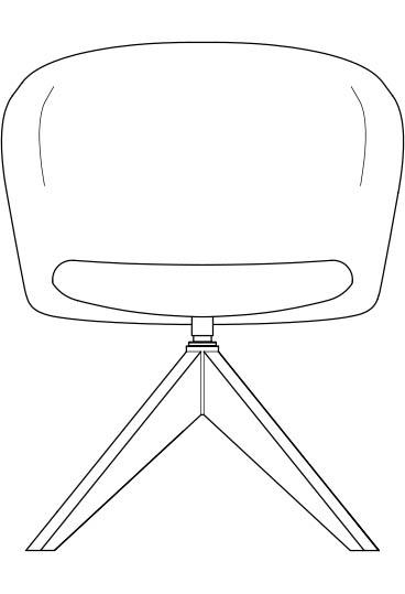 junea upholstered lowback four star wooden base line drawing 368x539