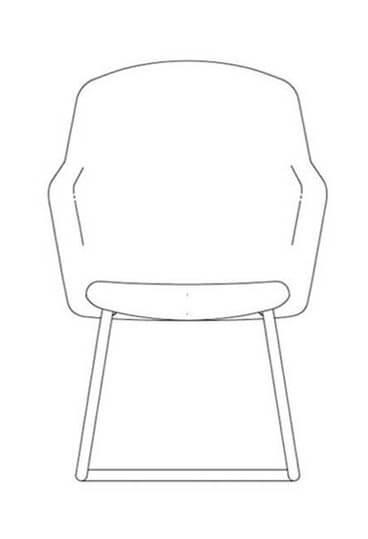 junea highback cantilever base line drawing 1