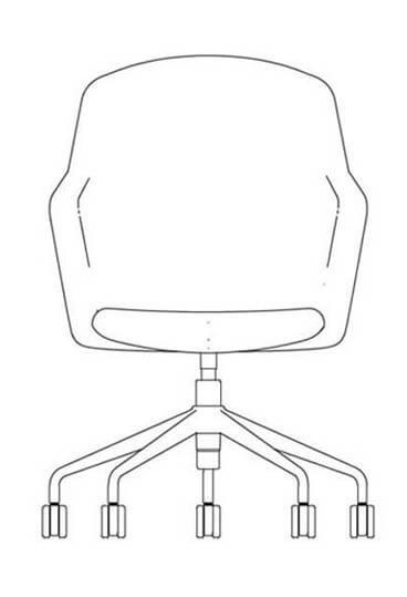 junea highback five star base castors line drawing 368x569 2