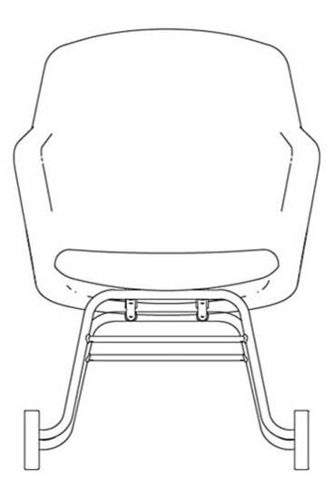 junea highback upholstered rocker base line drawing 368x539