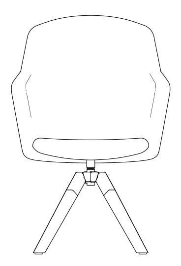 junea upholstered highback a cross wooden base line drawing 368x539