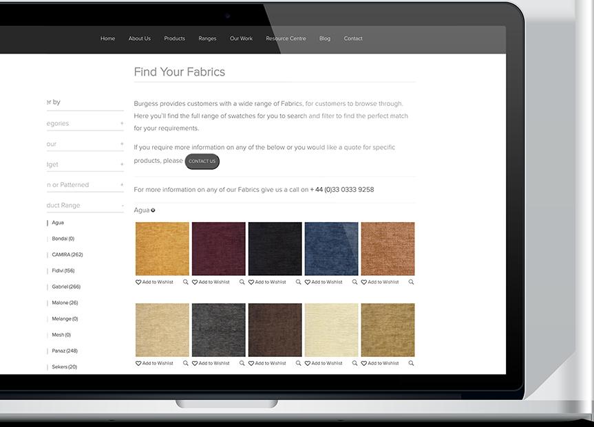 Fabrics Screen on laptop